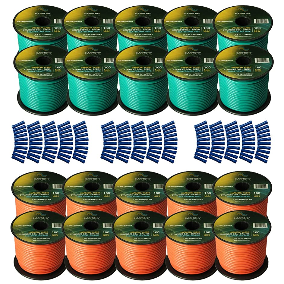 Harmony Audio Primary Single Conductor 14 Gauge Power or Ground Wire - 20 Rolls - 2000 Feet - Green & Orange for Car Audio/Trailer/Model Train/Remote