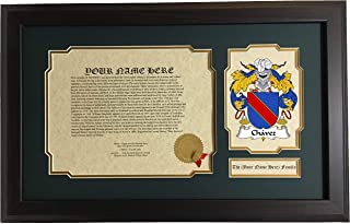 Chávez - Coat of Arms and Last Name History, 14x22 Inches Matted and Framed