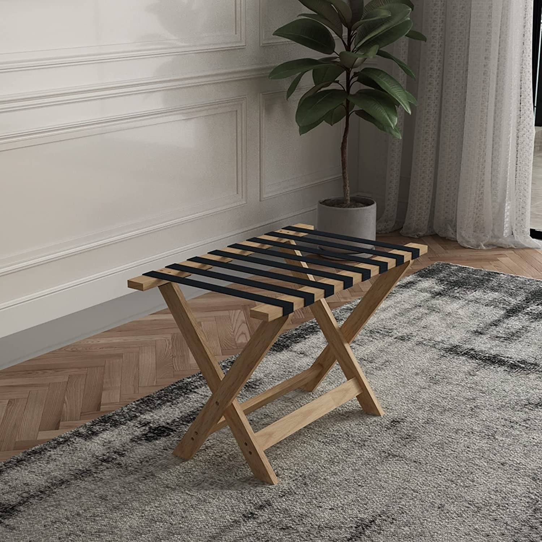 Hotel Folding Solid Wood Luggage Hanger Room Lug Inn Max 76% OFF New product!! Rack