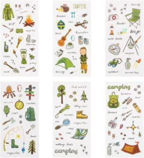 Camping Stickers Set, 24Sheets Decorative Sticker Collection Outdoor Survival Educational Stickers for Kids DIY Crafts, Scrapbooks, Calendars, Arts, Bullet Journals Classroom Supply
