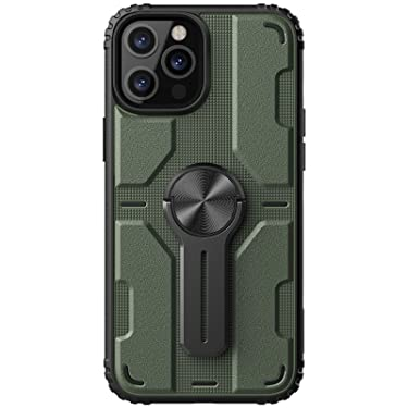 """Nillkin Case for Apple iPhone 12 Pro Max (6.7"""" Inch) Medley Case Military Grade Finish (PC + TPU) Built in Stand (Removable) Raised Bezel for Camera Protect Dark Green"""
