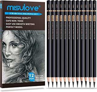 MISULOVE Professional Charcoal Pencils Drawing Set - 12 Pieces Soft, Medium & Hard Charcoal Pencils for Drawing, Sketching...