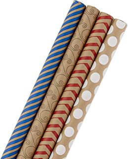 Hallmark Wrapping Paper Bundle - Kraft with Red, Blue, White, Black Designs (Pack of 4, 88 sq. ft. ttl.) for Christmas, Holidays, Birthdays or Any Occasion
