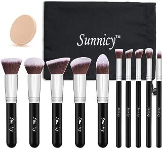 Makeup Brush 10 pcs Kabuki Makeup Brush Set Cosmetics Foundation Blending Liquid, Cream & Mineral Contouring Blush Eyeliner Face Powder Brush Makeup Brush Kit (Black + Silver Handle)