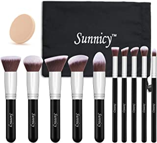 Makeup Brush 10 pcs Kabuki Makeup Brush Set Cosmetics Foundation Blending Liquid, Cream & Mineral Contouring Blush Eyeliner Face Powder Brush Makeup Brush Kit (Black + Silver Handle)