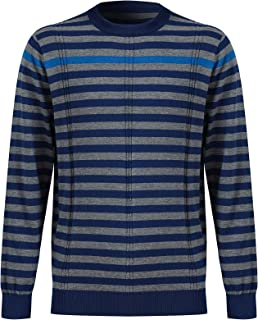 Men's Long Sleeve Striped Round Neck Lightweight Sweatshirt Sweater