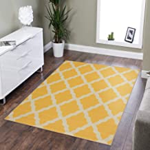 Sweethome Stores Clifton Collection Yellow Moroccan Trellis Design 5' X 6'6 Area Rug