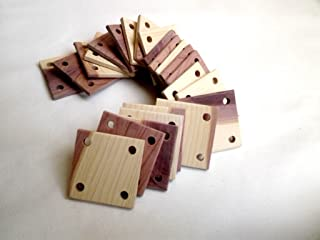 Weaving Cards 2x2 Inches with 4 Shuttles, Pack of 24 Aromatic Red Cedar.