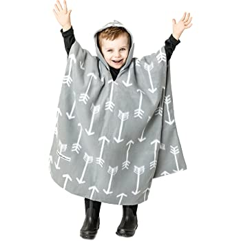 Kids Car Seat Poncho Gray Arrows Reversible Warm Blanket Safe Use OVER Seat Belts Winter