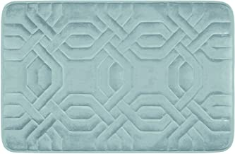 (43cm by 60cm , Aqua) - Bounce Comfort Chain Ring Extra Thick Premium Memory Foam Bath Mat with BounceComfort Technology, 43cm x 60cm Aqua