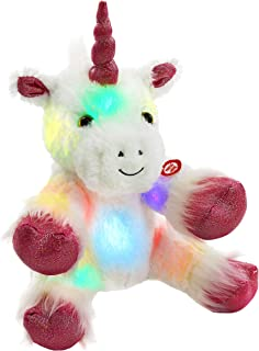 WEWILL Glow Unicorn LED Stuffed Animal Soft White Plush Toy Nightlight Companion Gift for Kids on Christmas Birthday Any Festivals, 12''