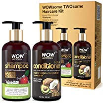 WOW Apple Cider Vinegar Shampoo and Organic Virgin Coconut oil plus Avacado Oil Conditioner- WOWsome Twosome No Parabens & Sulphates Hair Care Package – 600mL