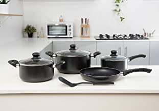 Royalford RF7923 Cookware Set 8 Pieces, Red, Aluminium