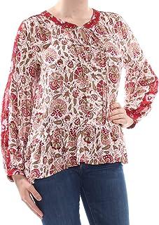 Lucky Brand Women's BORDER PRINT PUFF SLEEVE PEASANT TOP Shirt