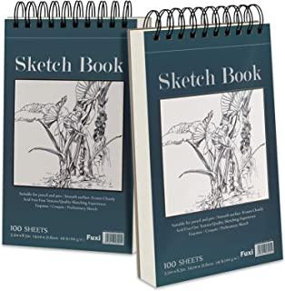 """5.5"""" x 8.5"""" Sketchbook Set, Top Spiral Bound Sketch Pad, 2 Packs 100-Sheets Each (68lb/100gsm), Acid Free Art Sketch Book ..."""