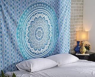 RAJRANG BRINGING RAJASTHAN TO YOU Tapestry Mandala - Twin Wall Hanging Handmade Indian Cotton Wall Decor Hippie Bohemian Decorative Art - Blue - 84 X 54 Inches
