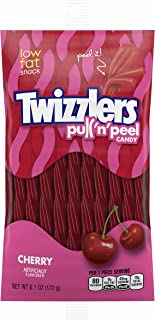 TWIZZLERS PULL 'N' PEEL Candy, Cherry Flavored Licorice Candy, 6.10 Ounce Bag (Pack of 12)