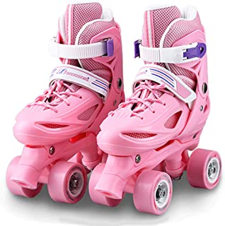 احذية تزلج ببكرة بصف مزدوج باربع عجلات قابلة للتعديل للاطفال المبتدئين للاستخدام الداخلي والخارجي