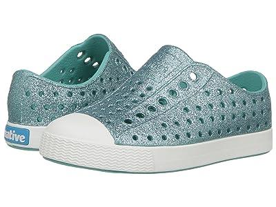 Native Kids Shoes Jefferson Bling Glitter (Toddler/Little Kid) (Pool Bling/Shell White) Girls Shoes