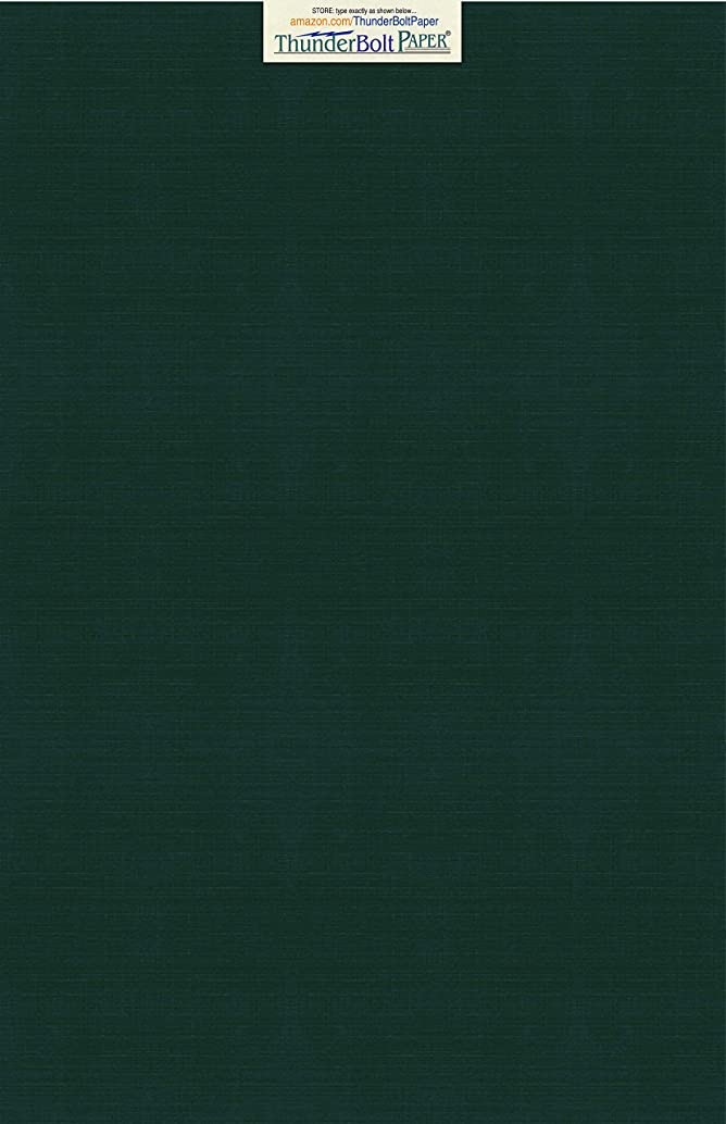 15 Dark Green Linen 80# Cover Paper Sheets - 12