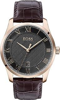 ساعة يد بمينا رمادي وجلد بني للرجال من هوغو بوس بلاك - طراز 1513740