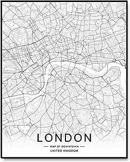 London City Downtown Map Wall Art London Street Map Print London Map Decor City Road Art Black and White City Map Office W...