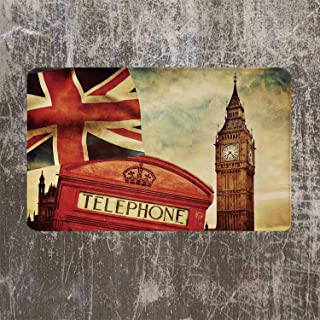 YOLIYANA London Beautiful Door Mat,Vintage Style Symbols of London with National Flag UK Great Britain Old Clock Tower Decorative for Kitchen,17.7''W x 29.5''L