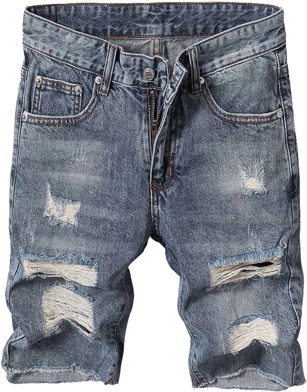 Mstyle Men Flat-Front Washed Pocket Vogue Summer Casual Denim Shorts Jeans