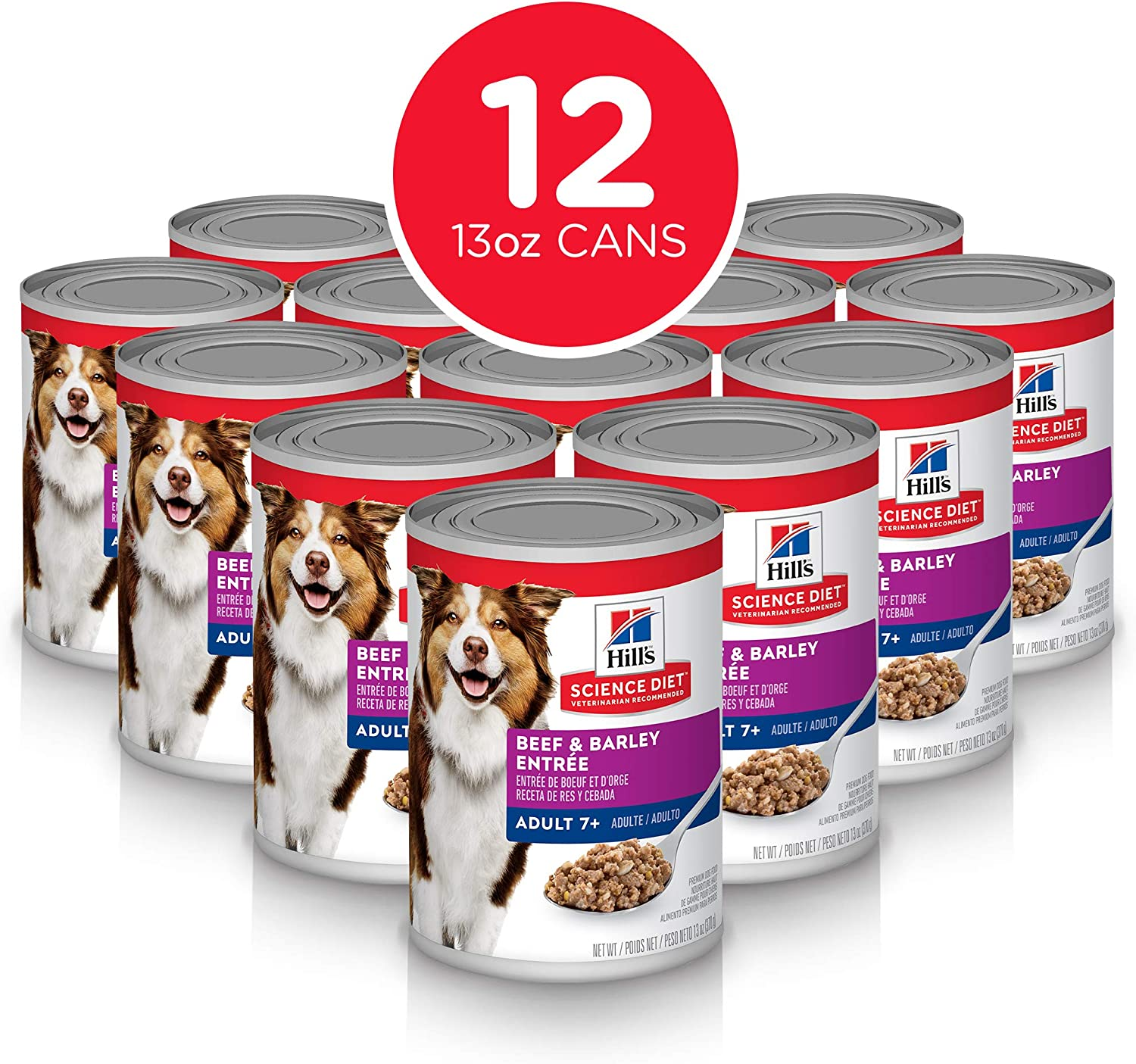 Hill's Science Diet Pack of 12 Canine Mature Adult 7+ Savory Stew Beef and Vegetable 363g 12.8Ounce Cans