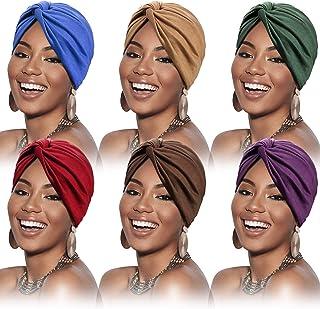 عمامة من SATINIOR 6 قطع للنساء لينة مسبقة التعادل عقدة الأزياء مطوي كاب قبعة الرأس قبعة النوم