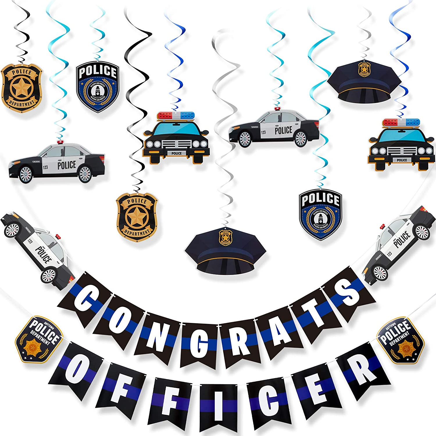 12 Pieces Police Party Hanging Swirls Max 84% OFF Jointed and At the price of surprise B