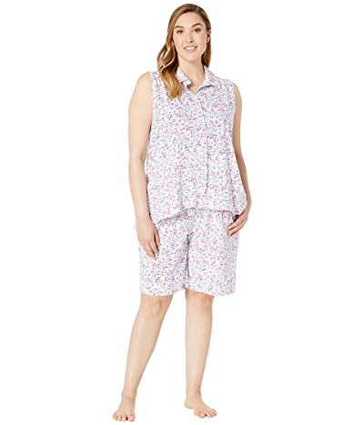 Carole Hochman Plus Size Sleeveless Bermuda Pajama Set (Pink Multi Ditsy) Women
