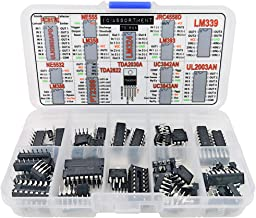 IC Assortment Box 75 pcs, PC817c, NE555, LM358, LM324, JRC4558D, LM393, LM339, NE5532, LM386, PT2399, TDA2822, TDA2030A, UC3842AN, UC3843AN, ULN2803APG, ULN2003AN and Sockets