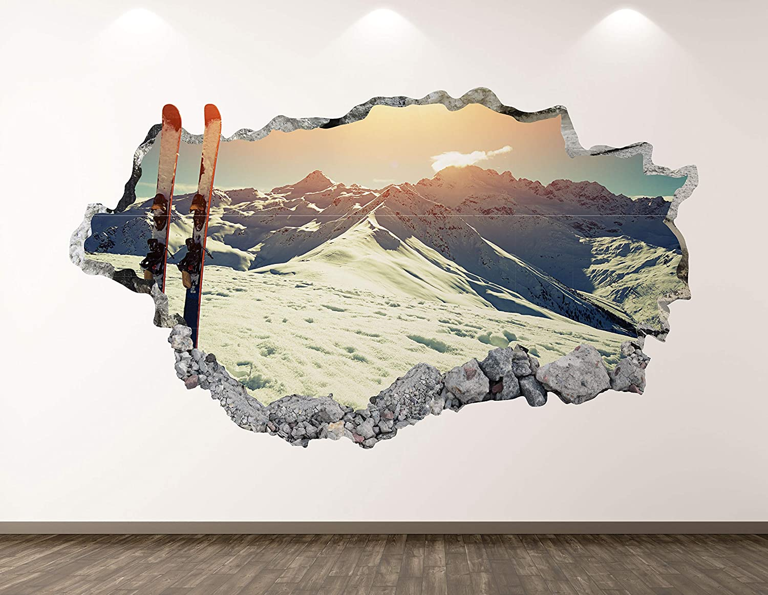 West Mountain Directly managed store Ski Wall Decal Art Max 79% OFF Decor Sport Sticker 3D Smashed