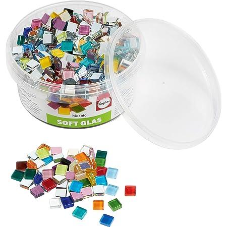 Rayher 14794999 Assortiment de pierres de mosaïque, multicolore, verre souple, transparent, brillant,carrées 1x1cm, 1 pot d'env. 525 pces (500g),résistantes au gel,intérieur,extérieur,loisir,artisanat