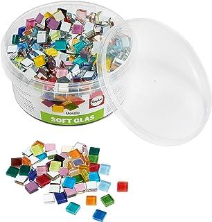 Rayher 14794999 Assortiment de pierres de mosaïque, multicolore, verre souple, transparent, brillant,carrées 1x1cm, 1 pot ...