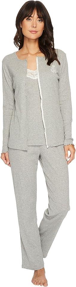 LAUREN Ralph Lauren Knit Cardigan Cami & Pants Three-Piece Pajama Set