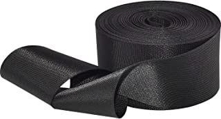 Flat Nylon Webbing 1 Roll 10 Yards 2 Inch Wide Strap for DIY Making Luggage Strap, Dog Leashes, Lawn Chairs, Hammocks, Towing, Outdoor Activities, Canoe Seat, Furniture, Slings (Black)