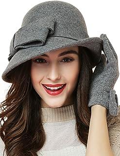 蒂芙莎 大蝴蝶结英伦帽子 春秋冬季羊毛呢女保暖帽 圆顶帽礼帽