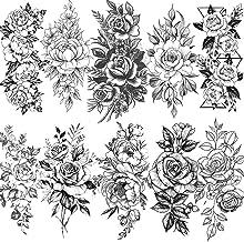 JTYR 10 Pcs 3D Big Rose Peony Flower Girls Temporary Tattoos for Women Waterproof Black Tattoo Stickers 3D Blossom Lady Shoulder Tattoos Leaf