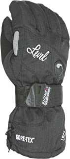 Level Half Pipe GTX Women's Snowboard Protective Gloves with GoreTex, BioMex Wrist Guards, ThermoPlus Liner (Black, Small (7.0in))