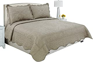 Beauty Sleep Bedding Luxury Embroidered Reversible 3 Pieces Quilt Set with 2 Quilted Shams, Taupe Color, California King Size