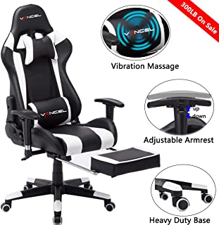 Gaming Chair Office Desk Chair High Back Computer Chair Ergonomic Adjustable Racing Chair Executive PC Chair with Headrest,Massager Lumbar Support & Retractible Footrest (White)