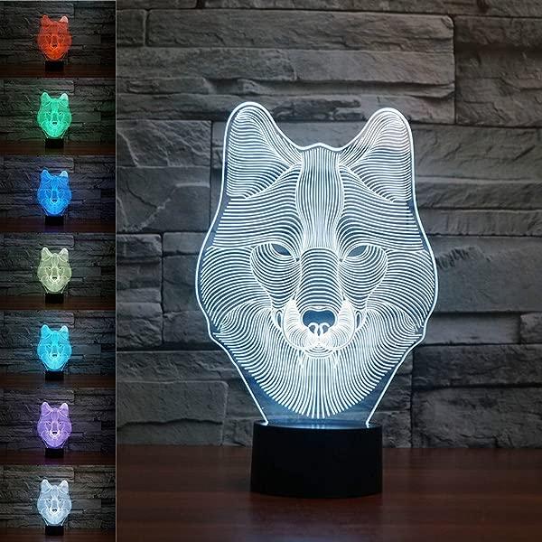 SUPERNIUDB 动物狼装饰 3D 小夜灯桌子桌子光错觉灯 7 变色灯