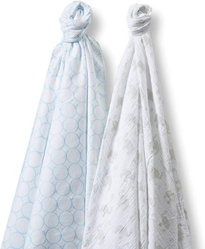 SwaddleDesigns SwaddleDuo Set Of 2 Swaddling Blankets Cotton Marquisette Premium Cotton Flannel Mod Elephant And Pastel Blue Chickies Duo