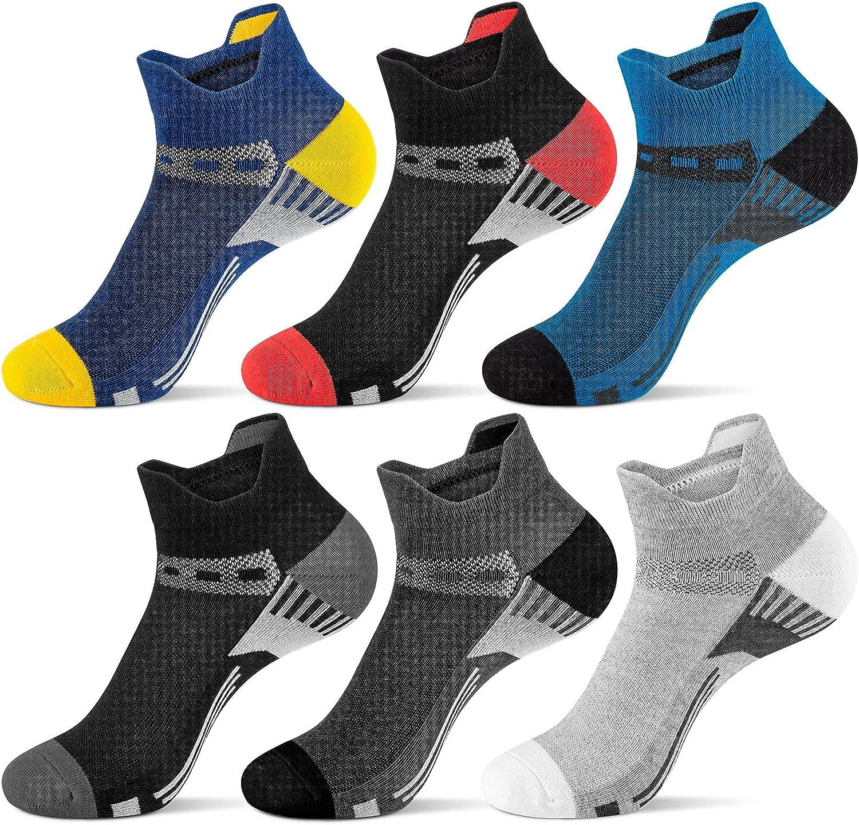 Onmaita Ankle Socks for Men, Cotton Low Cut Athletic Tab Socks for Men Sport Comfort Sock, 6 Pairs