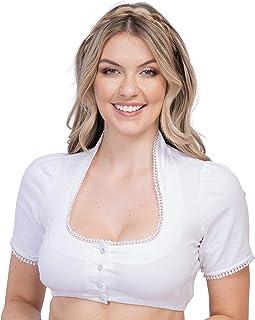 Schöneberger Trachten Couture Dirndlbluse Stehkragen weiß - Elegante Stretch Dirndl Bluse mit Knopfleiste und Spitze Sophia