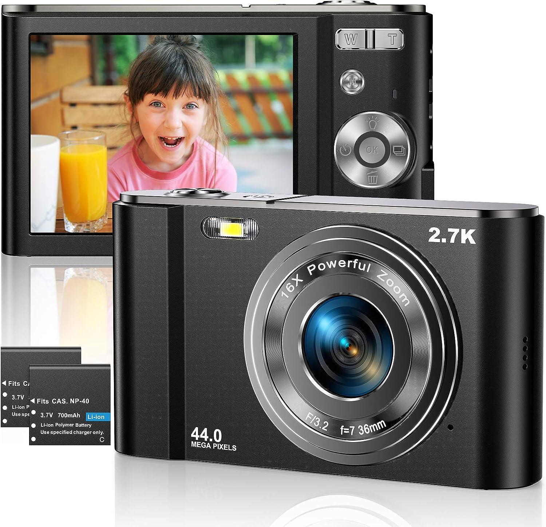 Cámara digital 2.7K Cámara de video 44MP 2.8 pulgadas LCD Cámara de bolsillo recargable para estudiantes con zoom digital 16X Cámara de videoblog de Youtube para niños, adultos, principiantes