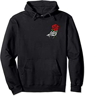Rose Shirt White Skeleton Hand Holding a Red Rose Pullover Hoodie