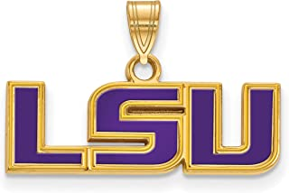 Louisiana State LSU Tigers Purple School Letters Logo Pendant Gold Plated Silver 10x25mm